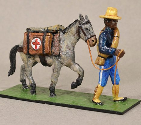 US Colored Private & Pack Mule with Medical Supplies - 1898
