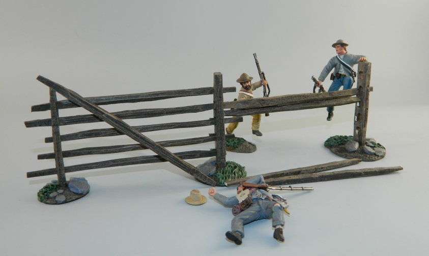 """Come on Boys!"" 3 Confederate Infantry with Turnpike Fence Sections"
