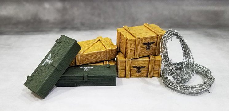 Small German Crates with 2 Barb Wire Coils