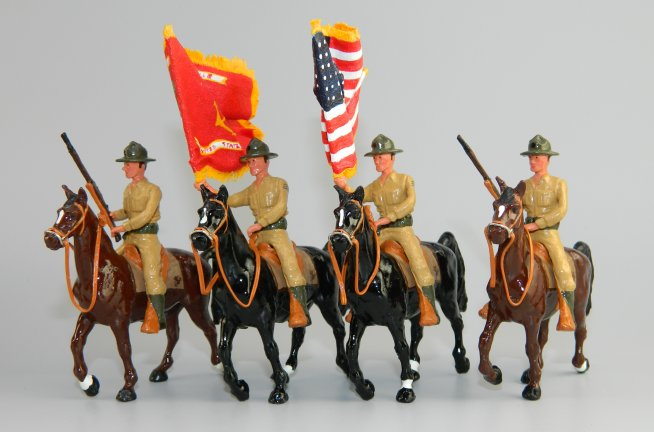 Nicaraguan Mounted Marines in Khakis – US & Red Marine Corps Flags