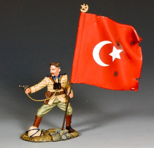 Turkish Officer with Flag