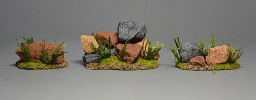 Stones with Grass - Three Groups