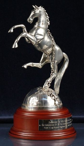 Rearing Horse and Silver Globe