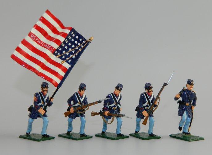 Officer, Flagbearer & 3 Marines in Winter Service Uniform, U  S  Marines  Civil War, 1861-65