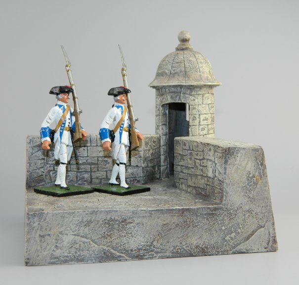 Spanish Castle Corner & Turret with 2 Soldiers