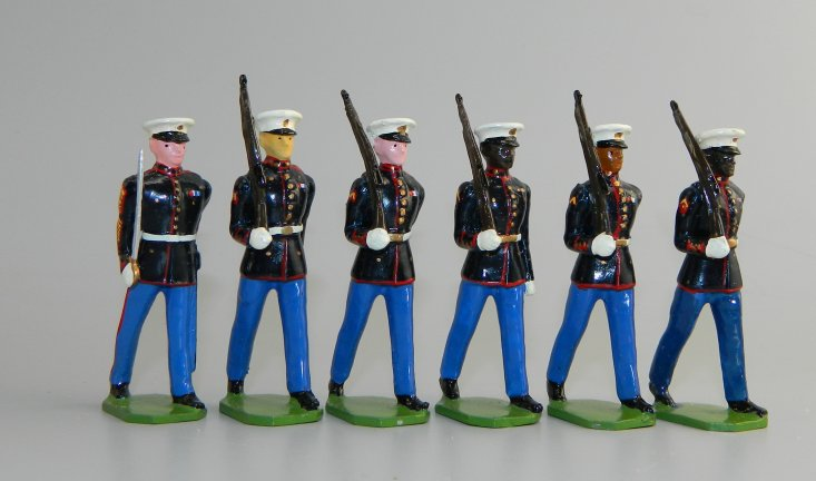 Sergeant & 5 Marines Marching at Right Shoulder Arms - Dress Blues