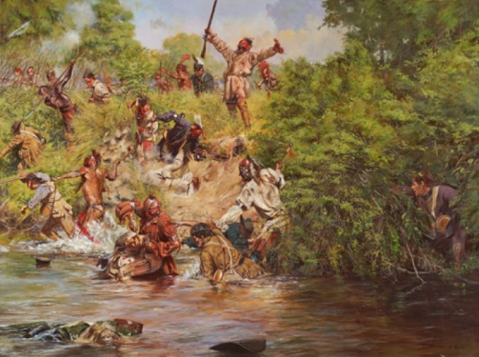 """Ensign Downing's Escape"" Battle of Wyoming, July 3, 1778 - Canvas Giclee"