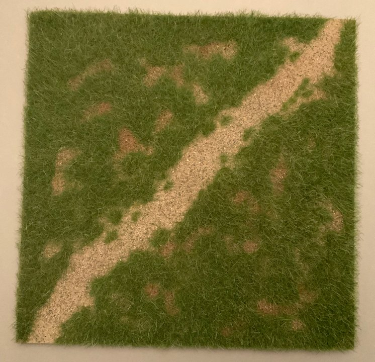 "12"" x 12"" Grass Field with Diagonal Path Scenic Base"
