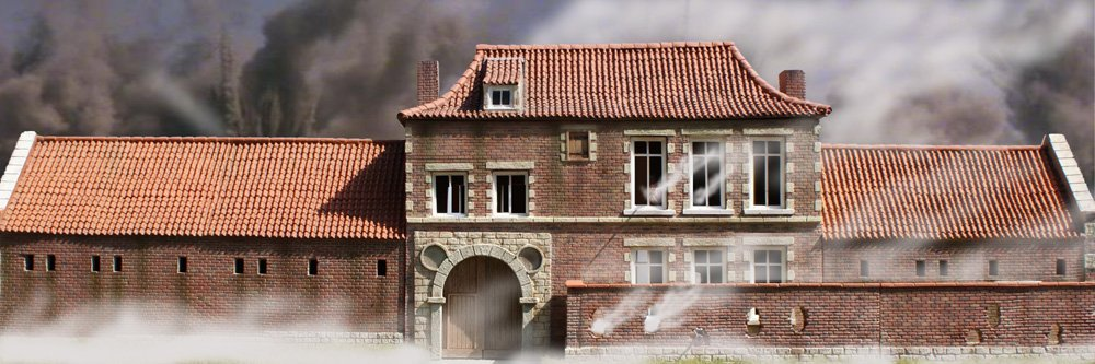 "Hougoumont on Fire - 10"" x 30"" Backdrop"
