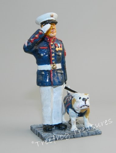 USMC Sergeant with Bulldog Mascot