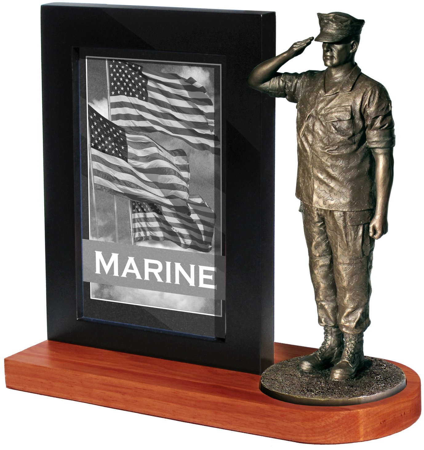 Marine Salute with Photo frame and Wood base