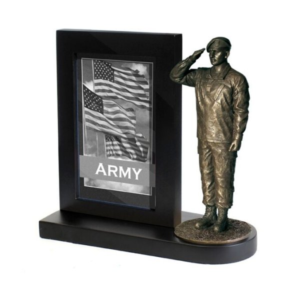 Army Specialist Salute with Photo frame and Black Wood base