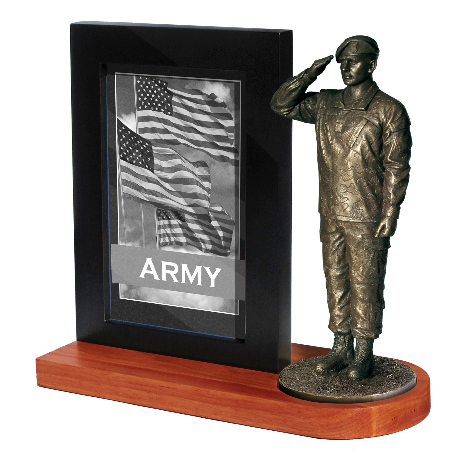 Army Specialist Salute with Photo frame and Wood base