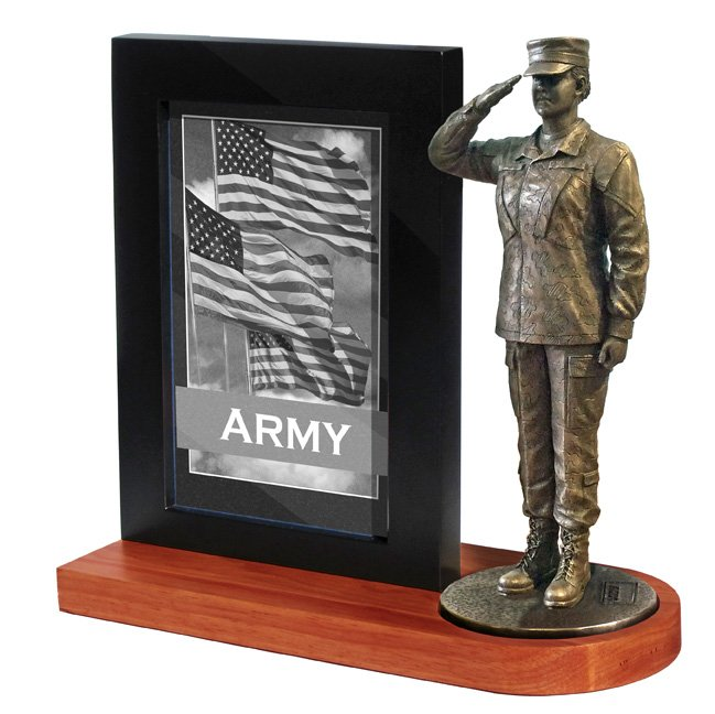 Army Female Photo Frame and Cherry Wood base