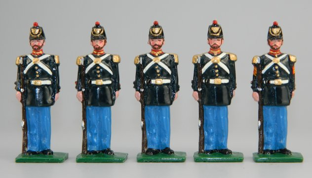 US Civil War Marines in Dress Uniform - Sgt. & 4 Marines at Attention