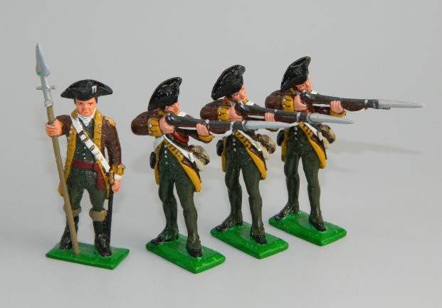 Officer & Three Firing - Colonel Sherburne's Regiment