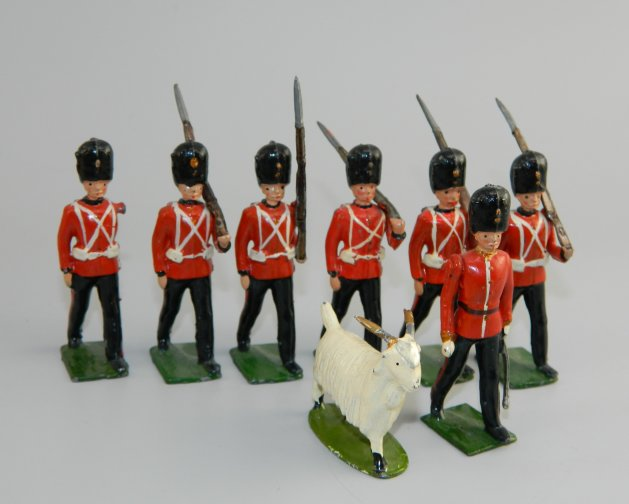 The Royal Welch Fusiliers With Officer and Goat Mascot