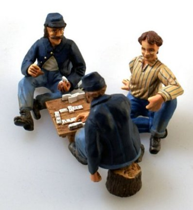 A Game of Bones - Three Union Soldiers Playing Dominos