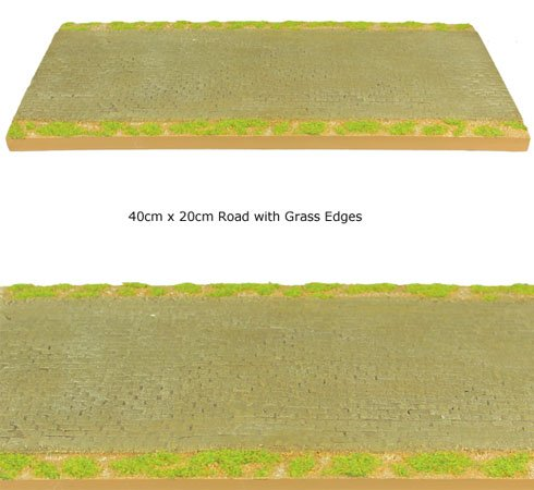 Modular Terrain Road Section with Green Grass Edges