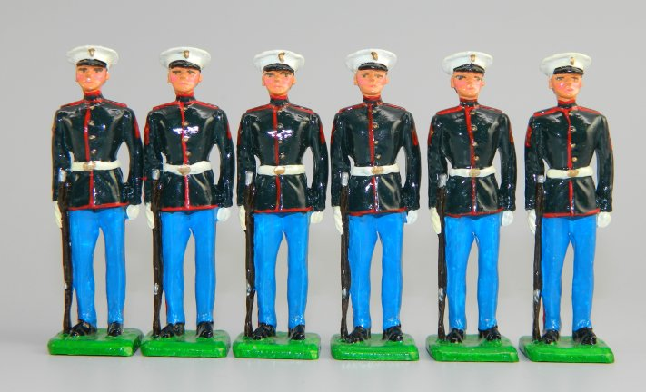 Modern US Marines At Attention