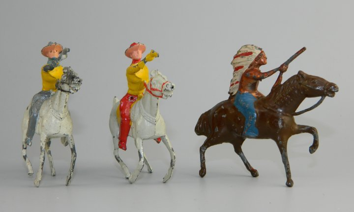 Vintage W. Britain Mounted Glossy Cowboys & Indian