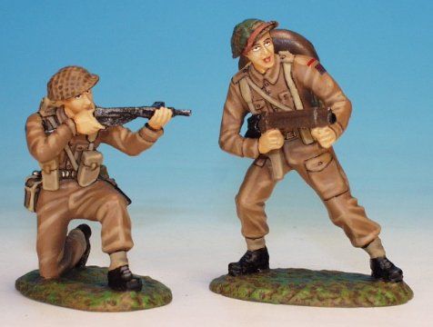 Two British WWII Infantry - Flame Thrower Team