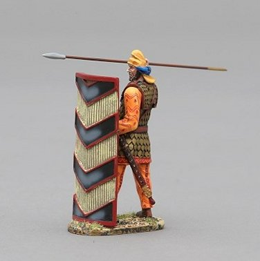 Persian Immortal Throwing Spear - Black & Cream Wicker Shield
