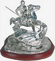 Saint George and Dragon, Silver on a Mahogany Base
