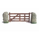 Gate and 2 Stone Gate Posts