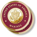 Marine Great Seal Brass 2 Coaster Set